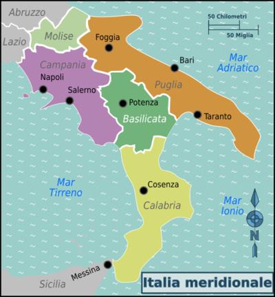 Italia Del Sud Cartina Geografica.Italia Meridionale Wikivoyage Guida Turistica Di Viaggio