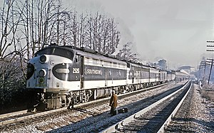 Crescent (train) - Southern Railway's Southern Crescent at Peachtree Station in Atlanta  on January 21, 1971
