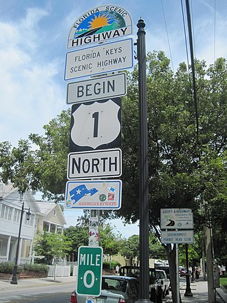 U.S. Route 1 in Florida - Mile zero in Key West