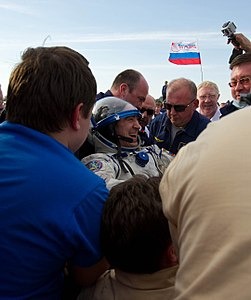 Soyuz TMA-22 crew member Anatoly Ivanishin shortly after the capsule landed.jpg