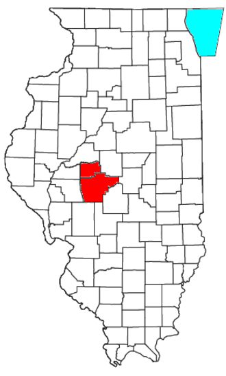 Springfield metropolitan area, Illinois - Location of the Springfield Metropolitan Statistical Area in Illinois