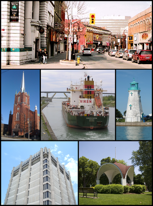 St. Catharines - From top left: The corner of St. Paul and Queen streets, the Silver Spire United Church on St. Paul, a ship traversing the Welland Canal with the Garden City Skyway in the background, the lighthouse of Port Dalhousie, the Arthur Schmon Tower of Brock University, and the gazebo in Montebello Park