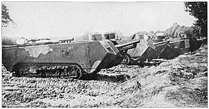 Tanks in France - French Saint-Chamond tanks had long bodies with a lot of the vehicle projecting forward off of the short caterpillar tracks, making them more liable to get ditched in trenches.