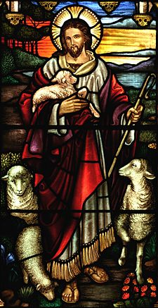 A stained glass depiction of Jesus as a Caucasian man with long brown hair, a beard and the characteristic Christian cross inscribed in the halo behind his head. The figure dressed in a white inner robe cover by a shorter, looser scarlet robe. Depicted as a Shepherd, he is holding a crux in his left hand and carrying a lamb in his right. Sheep are positioned to the left and right of the figure.