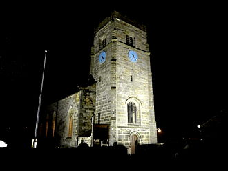 St Robert's Church, Pannal - The floodlit church