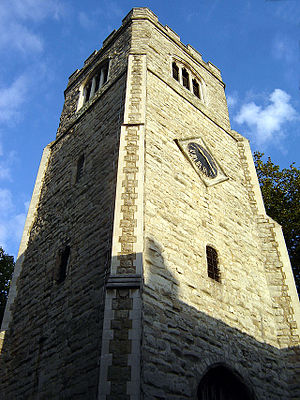 Hackney (parish) - St Augustine's Tower – Dating back to the 13th century, this is Hackney Central's oldest building. It is all that remains of the original medieval parish church, which was demolished in the late 18th century (September 2005).