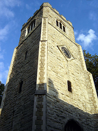 London Borough of Hackney - St Augustine's Tower. A former property of the Knights of St John dating from the 13th century, St Augustine's Tower is Hackney's oldest building. The tower is all that remains of the medieval parish church, which was demolished in 1798. (September 2005)