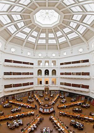 Vue panoramique de la salle de lecture La Trob...
