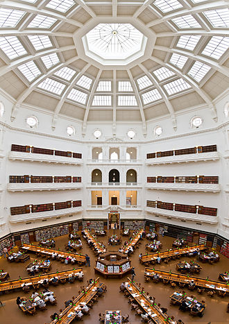 Education in Victoria - State Library of Victoria, Melbourne's largest public library. (La Trobe Reading Room – 5th floor view)