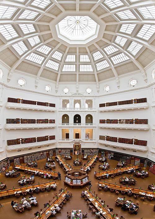 Ruang Baca La Trobe di Perpustakaan Negara Bagian Victoria, Melbourne, Australia.