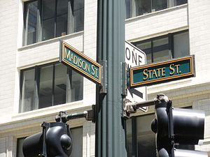 State Street (Chicago) - The crossroads of Chicago's address system at State and Madison Streets