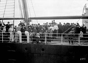 Grosse Isle, Quebec - Steamer Lake Champlain arriving at port, Québec, Oct. 1911