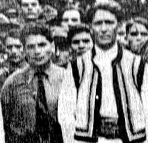 Crusade of Romanianism - Iron Guard rally, 1933. Codreanu is front row, right, with Stelescu by his side