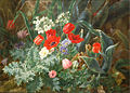 Still life with flowers on a mossy bank 1874 by Anthonore Christensen.jpg