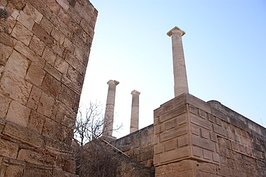 Stoa on acropolis of Lindos 2010.jpg