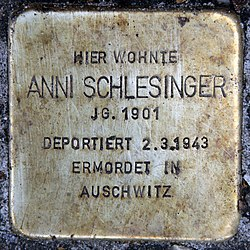 Photo of Anni Schlesinger brass plaque