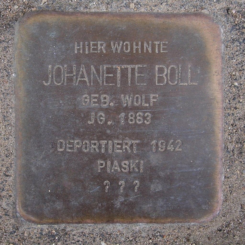 Stolperstein Bingen Mainzerstraße 357 Johanette Boll.jpg