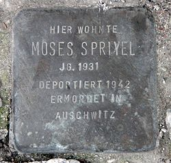 Photo of Moses Spriyel brass plaque
