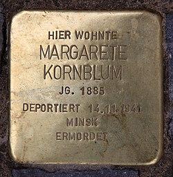 Photo of Margarete  Kornblum brass plaque