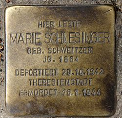 Photo of Marie Schlesinger brass plaque