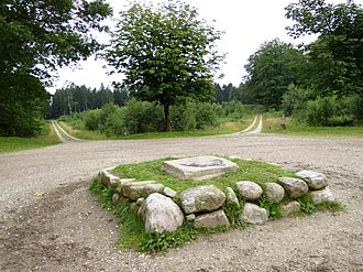Store Dyrehave - The 8-way junction of Stjernen (lit.: The Star) with the King's Stone at the centre. Store Dyrehave.