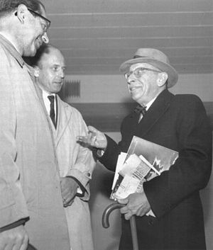 Robert Craft - Robert Craft (left) with Kai Maasalo and Igor Stravinsky (right) on their visit to Helsinki in 1961.