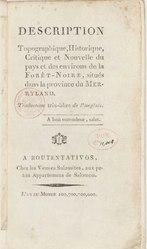 Thomas Stretser: Description topographique, historique, critique et nouvelle du pays et des environs de la Forêt noire, situés dans la province du Merryland.