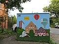 Stromkasten Nr 586, Nordergraben, Mit Flensburg-Motiven Nordetor, Rathaus, Wasserturm, Auguste-Viktoria-Schule sowie eine Maus, Bild 1.JPG