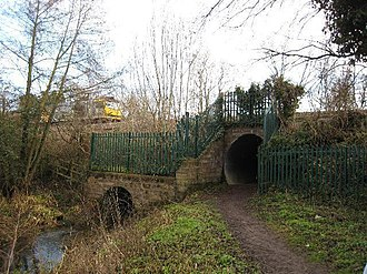 Stroudwater Navigation - The bridge under the Bristol to Gloucester railway line at Ocean was replaced by a culvert in the 1960s.