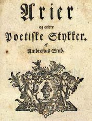 Ambrosius Stub - Title page of Stub's collected arias and poems, edited by T. S. Heiberg, 1771