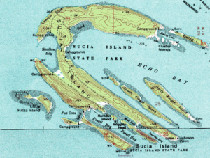 USGS topographical map of Sucia Island.