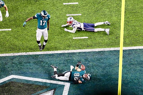 Zach Ertz after catching a touchdown in Super Bowl LII Super Bowl 1F2868F4.jpg