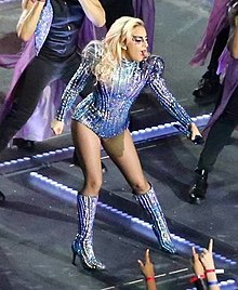 Super Bowl LI halftime Gaga closeup (cropped1).jpg