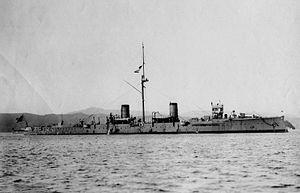 Russian cruiser Novik (1900) - Suzuya at Kure, 7 November 1908