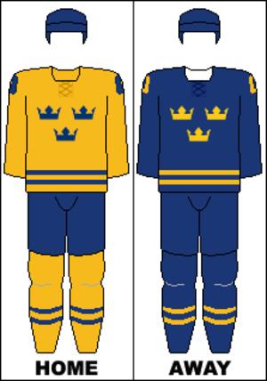 Sweden women's national ice hockey team - Image: Sweden national hockey team jerseys 2014 Winter Olympics