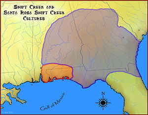 Santa Rosa-Swift Creek culture - A map showing the geographical extent of the Swift Creek culture