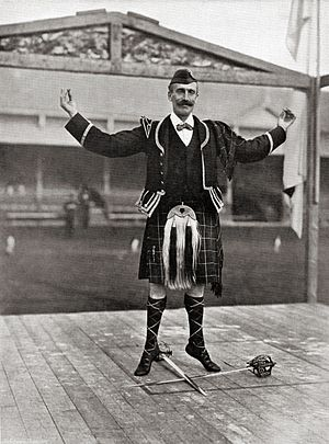 "Scottish sword dances - A performer of the Scottish sword dance, the ""Gillie Callum"", in Inverness,  c. 1900"