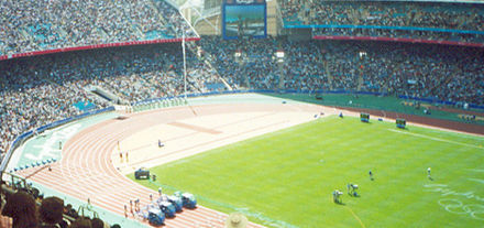 Track and field events in during the 2000 Summer Olympics. Sydney olympic stadium track and field.jpg
