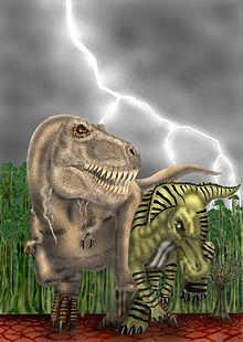 Tiranossauro perseguindo um anatotitan