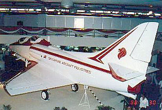 ST Aerospace A-4SU Super Skyhawk - A full scale TA-4SU mock-up on display at the stand of Singapore Aircraft Industries (SAI) at the 1988 Asian Aerospace exhibition