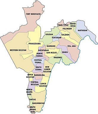 Taguig - Map showing the barangays of Taguig