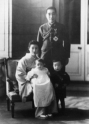 Prince Tsuneyoshi Takeda - Takeda with his wife, Princess Mitsuko, and their two eldest children in 1942