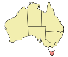Map of Australia with  Tasmania highlighted