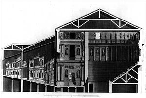 Teatro Olimpico - Longitudinal section (Ottavio Bertotti Scamozzi, 1776)