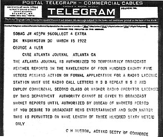 "WSB (AM) - March 15, 1922 telegram authorizing WSB to immediately begin ""news, entertainment and such matter"" broadcasts on 360 meters (833 kHz) and weather reports on 485 meters (619 kHz)"