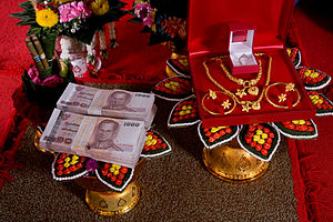 Child marriage - A traditional, formal presentation of the bride price at a Thai engagement ceremony.