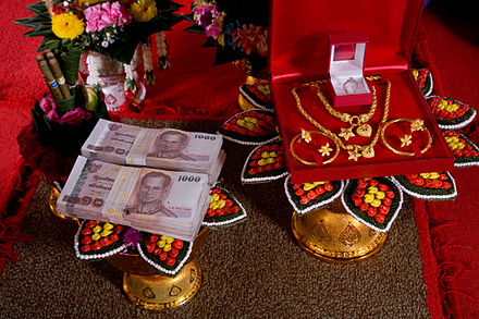 "Traditional, formal presentation of the bridewealth (also known as ""sin sot"") at an engagement ceremony in Thailand Thai Bride Price 2008.jpg"