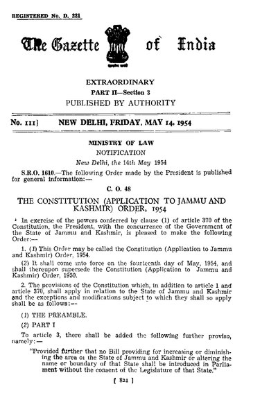 File:The Constitution (Application to Jammu and Kashmir) Order, 1954.djvu