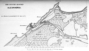 Battle of Kafr El Dawwar - This map shows the main features of the countryside around Alexandria during the Anglo-Egyptian War of 1882