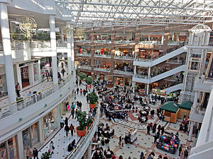The Fashion Centre at Pentagon City - Interior photograph of the Fashion Centre at Pentagon City, taken from the 4th floor of the mall, in January 2013